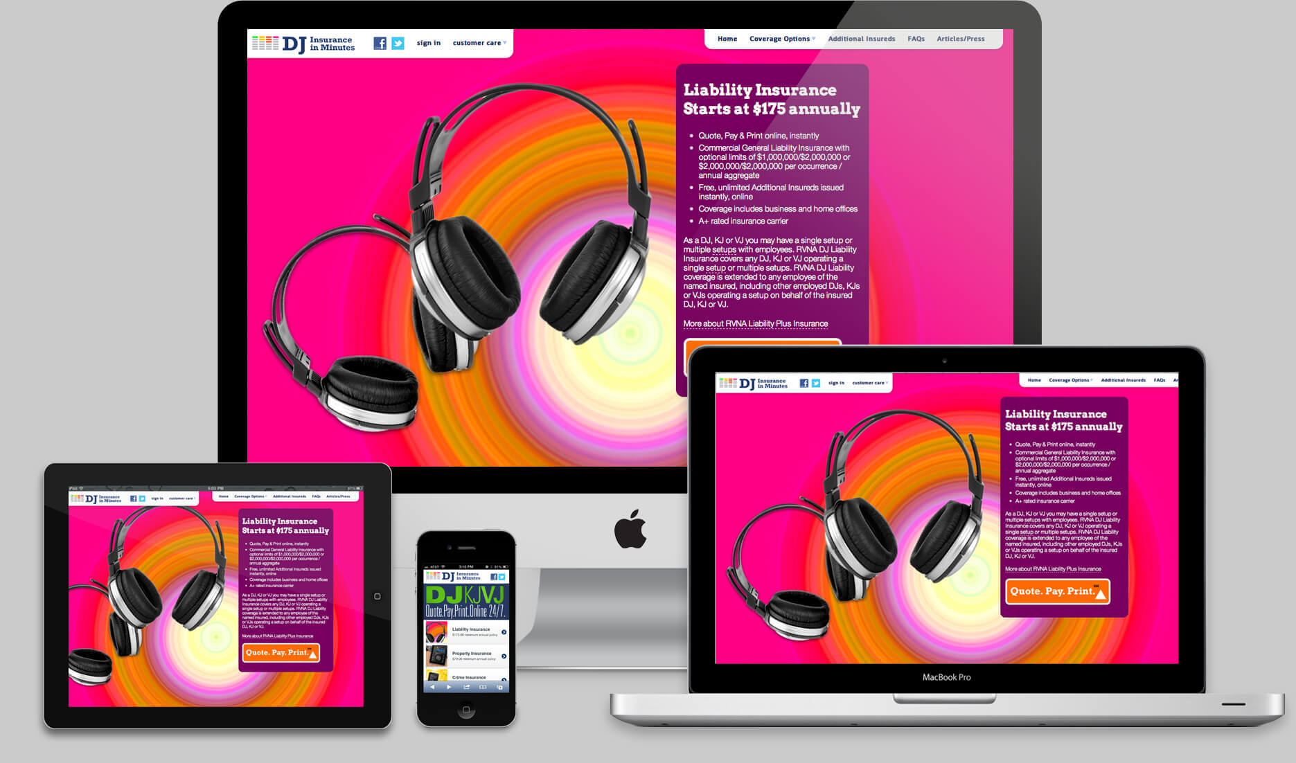 dj insurance websites on all devices