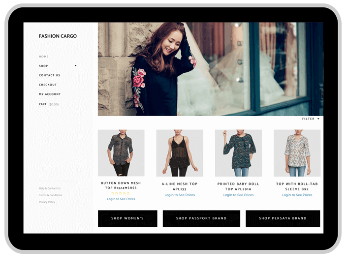e-commerce website fashion cargo la